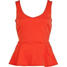 River Island Red V Neck Sleeveless Peplum Top ($29) ❤ liked on Polyvore