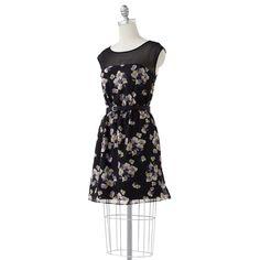 LC Lauren Conrad Floral Sheath Chiffon Dress (also for brown floral fabric)