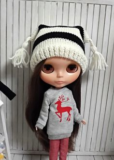 blythe hat knitted doll cute strip tassel white