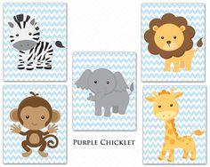 Giraffe Monkey Elephant Lion Zebra Baby Blue Chevron Zoo Animals Nursery Room Decor Wall art Jungle Animals Prints Art for Kids Room Nursery Room Decor, Nursery Art, Giraffe, Elephant, Baby Zebra, Animal Nursery, Monkey Nursery, Baby Boy Rooms, Wall Art Decor