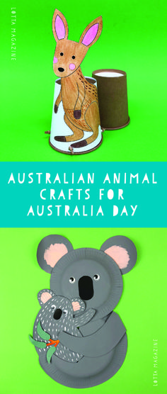 Easy kids crafts and printables for Australia Day.  Australian animal crafts.