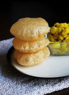 Poori recipe or puri recipe with step by step photos - it is very easy and simple to make. Poori is popular Indian recipe. It served with potato subzi or sweets like halwa Undhiyu Recipes, Puri Recipes, Indian Food Recipes, Snack Recipes, Cooking Recipes, Tandoori Masala, Chana Masala, Indian Breakfast, Desi Food