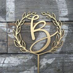 """Initial Wedding Cake Topper 5"""" inches Personalized Custom Rustic Wreath Initials Toppers Unique Cute Laser Cut by Ngo Creations"""