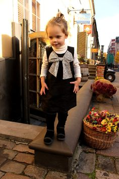 READY to SHIP/ Girls linen dress black white by Maliposhaclothes, $51.00