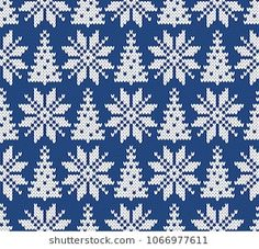 Similar images, stock photos, and vector graphics of winter festive Christmas knitted pattern woolen knitted 2018 - 749350024 Winter Holiday Seamless Knitted Pattern with a Christmas Trees and Snowflakes Always wanted to learn to knit, however no. Knitting Daily, Knitting Stiches, Finger Knitting, Knitting Charts, Knitting For Beginners, Bead Loom Patterns, Stitch Patterns, Knitting Patterns, Christmas Table Decorations