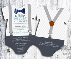 Little Man - Bow Tie and Suspenders Baby Shower Invitation - Onesie Shaped Bow Tie Shower Invitation Set of 40 with matching thank you cards