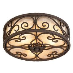 "Natural Mica Collection 12"" Wide Ceiling Light Fixture -"