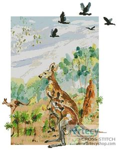 Kangaroo Cross Stitch Pattern http://www.artecyshop.com/index.php?main_page=product_info&cPath=74_77&products_id=915