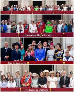 If you can peel your eyes away from the Cambridge's for a second you will notice there are in fact other people on the balcony  I thought you might be interested in who's who :) Basically there is the immediate Royal family that are positioned in the middle and on either side stand the family of the Queen's cousins: the Duke of Gloucester, the Duke of Kent, Prince Michael of Kent and Princess Alexandra. In the Gloucester set, from left to right, you can see Richard the Duke of Gloucester…