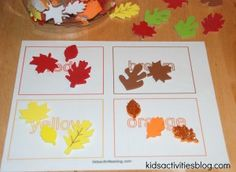 Printable Color Activities and Sorting Activity {with Fall Colors} Love Fall Colors.Outlaw Mom Fall Colors Activity for Toddlers Color Activities For Toddlers, Preschool Colors, Fall Preschool, Sorting Activities, Autumn Activities, Toddler Activities, Preschool Activities, Kid Activites, Cognitive Activities