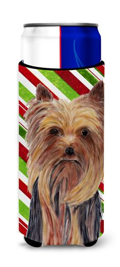 Yorkie Candy Cane Holiday Christmas Ultra Beverage Insulators for slim cans SC9325MUK