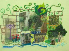 The VILLAGE,  Mixed media,  Elfiesart.  Love the photo transfer mixed with hand embroidery