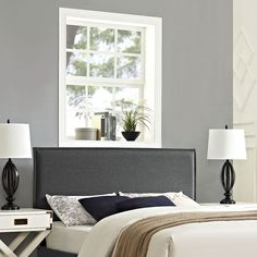 Camille Full Fabric Headboard, Gray - Accentuate your decor with the refined Camille Headboard in Fabric. Elegantly stitched with French seam upholstery, Camille comes in polyester fabric, has a solid wood frame, adjustable black coated metal legs, and dense foam padding for ultimate support. Instill grace with an exceptional headboard perfect for traditional, contemporary and modern decors. Fully Compatible with Sharon, Sherry and Helen Platform Bed Frames. Set Includes: One - Camille Full…