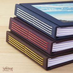 "Handmade longstich binding / Encuadernación de ""puntada larga"" cosida a mano"