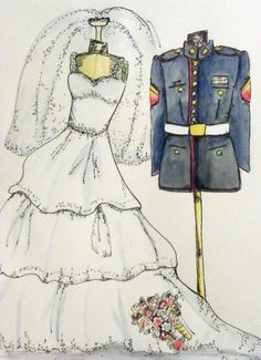 Military Themed Wedding Invitation - USMC