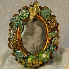 Jeweled picture frame vintage jewelry ocean themed swarovski crystal pins