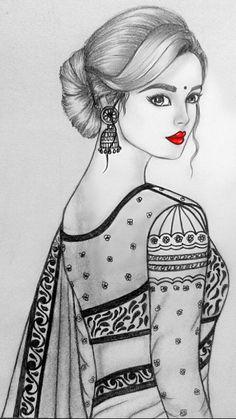 Pencil Sketching, Pencil Art Drawings, Cool Art Drawings, Easy Drawings, Animal Drawings, Drawing Sketches, Girly Drawings, Princess Drawings, Sketch Painting