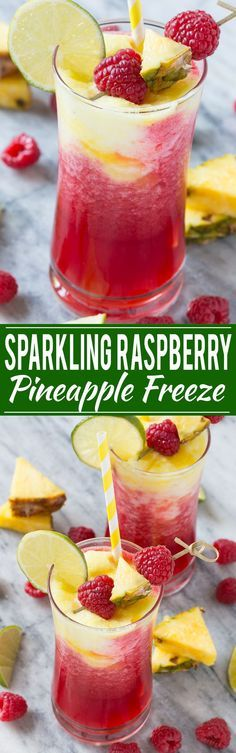 This sparkling raspberry pineapple freeze is a festive and refreshing drink that takes just minutes to put together.This sparkling raspberry pineapple freeze is a festive and refreshing drink that takes just minutes to put together. Refreshing Drinks, Fun Drinks, Yummy Drinks, Healthy Drinks, Yummy Food, Cold Drinks, Party Drinks, Healthy Desserts, Non Alcoholic Drinks