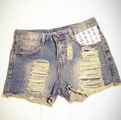Anchors Distressed High Waist Shorts