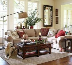 Benchwright Coffee Table - Rustic Mahogany stain Pottery Barn Love EVERYTHING about this room Barn Living, Country Living Room, Trendy Living Rooms, Living Decor, Rustic Living Room, Traditional Design Living Room, Pottery Barn Living Room, Family Room Design, Farm House Living Room