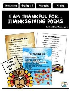 """Just in Time for Thanksgiving! Your students will love writing and sharing these creative and meaningful """"I am Thankful for. . ."""" Poems on Thanksgiving! This Thanksgiving Writing Activity is perfect to use the week before Thanksgiving!"""