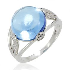 The large Blue Topaz resting on the top of this ring is an easy thing to spot. The ring itself is made out of the finest quality Sterling Silver that you can get and comes with a coat of Rhodium which gives the ring a really incomparable shine. We currently only have a few of these rings in stock so get one for yourself today.