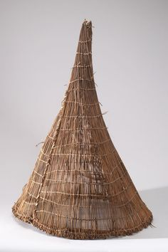 Botswana | Basketry trap from Northwest Ngamiland, Okavango River, Mohermba. Possibly from the Mbukushu people | Plant fiber and wood | ca. 1970