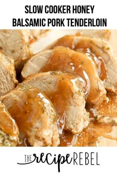 This Slow Cooker Pork Tenderloin is covered in an easy garlic herb rub and drizzled with a honey balsamic glaze! This crock pot pork tenderloin is made with minimal effort and maximum flavour. It is moist, tender and perfect over pasta, rice, or mashed potatoes! #dinner #recipe #recipes #healthyrecipe #healthydiet #pork #porktenderloin #tenderloin #slowcooker #crockpot
