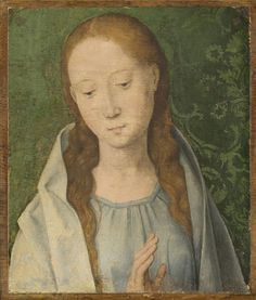 Hans Memling (circa 1433–1494)    Title	Maria, a part of a lost The Annunciation   1489  	oil on panel  	Height: 29.2 cm (11.5 in). Width: 24.8 cm (9.8 in).  	  Philadelphia Museum of Art