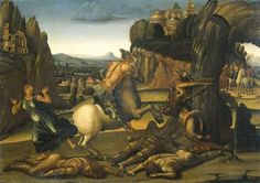Saint George and the Dragon - Luca Signorelli Artist: Luca Signorelli Start Date: 1495 Completion Date:1505 Style: High Renaissance Genre: religious painting Technique: oil Material: panel Dimensions: 55 x 77.5 cm Gallery: Rijksmuseum, Amsterdam, Netherlands