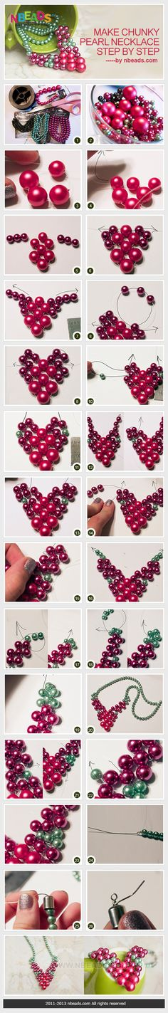 make chunky pearl necklace step by step