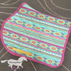 Aztec print patterned AP all purpose saddle pad by WhinneyWear Barrel Racing Saddles, Barrel Racing Horses, Horse Saddle Pads, Horse Saddles, English Horse Tack, English Saddle Pads, Aztec Print Patterns, Motifs Aztèques, Equestrian Gifts