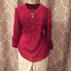 Red chiffon blouse. Cute blouse with option to roll up sleeves and cute button detail on sides. Apt. 9 Tops Blouses