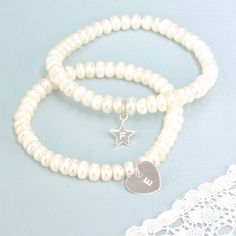button pearl bracelet with initial by lisa angel   notonthehighstreet.com