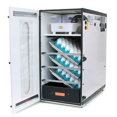 The 1202E incubator has the same look as the 1502 with the white, lightweight cabinet. It is an improved model of the old 1202 standard incubator. It has the same size capacity as the1502 incubator, but with less automation for reduced cost. The 1202E features mechanically timed egg turning, rugged dial thermometer or hygrometer with wick, and a preset electronicthermostat. This model can be upgraded to the