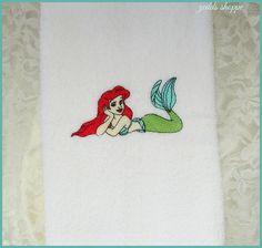 Mermaid Hand Towel  Bath Decor  Sea  Ocean  Beach by zeddsshoppe