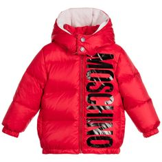 Moschino Baby Boys Red Down Padded Hooded Jacket