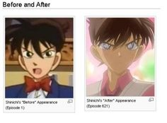 Before and After: Kudo Shinichi Episode 1 vs 621 IT'S CHANGED SO MUCH!!!! IT IS SOO MUCH BETTER!!!!!!!