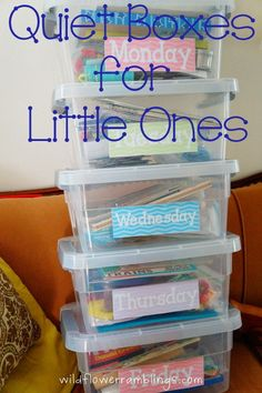 Create quiet boxes for little ones to spend some alone time working creatively and independently on their own!