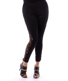 Another great find on #zulily! Black Lace Leggings - Plus by Yummy #zulilyfinds
