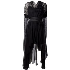 LOUIZA BABOURYAN waterfall cape dress (6.035 BRL) ❤ liked on Polyvore featuring dresses, gowns, vestidos, long dress, chiffon gown, black chiffon gown, black sheer dress, black sleeveless dress and black evening gowns