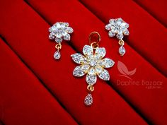 AD70, Daphne Zircon Flower Pendant Earrings for Cute Anniversary Gifts