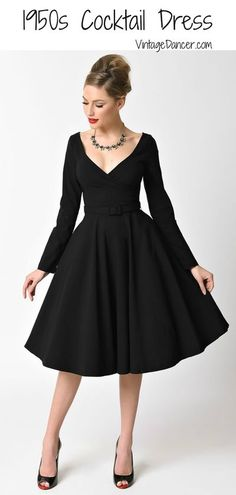 Black 1950s cocktail dresses, party dresses, evening dresses at VintageDancer.com