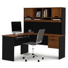Bestar - HomePro 92000 L-shaped desk - Tuscany Brown & Black - Sam's Club