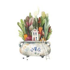 Cactus Illustration, Watercolor Illustration, Watercolor Flowers, Watercolor Paintings, Amazing Paintings, Cactus Art, Canvas Paper, Cactus Y Suculentas, Cute Drawings