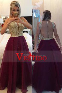 2016 Burdeos / Castaño Prom Vestidos Scoop una línea con el marco y apliques