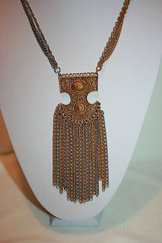 VTG LARGE EGYPTIAN REVIVAL PENDANT NECKLACE ANTIQUE GOLD & SILVERPLATE W/ DANGLE $125
