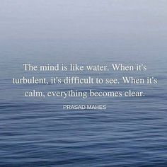 The mind is like water. When it is turbulent, it is difficult to see. When it is calm, everything becomes clearer.