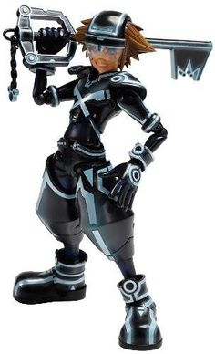 Sora Tron Play arts kai action figure comes with alternate sets of hands, three Key blades, and a display stand! Key Of Light, Best Action Figures, Sora Kingdom Hearts, Sci Fi Armor, One Wave, Art Challenge, Spiderman, Tron Legacy, Cosplay