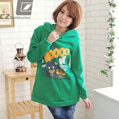 Women Cartoon Monkey Two-way Hoodie Long Tops Outerwear | eBay